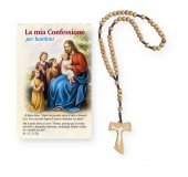 """Coroncina rosario Tau in legno e cartoncino pieghevole """"Confessione"""""""