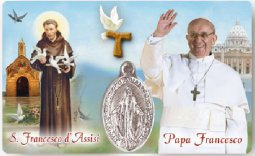 "Copertina di 'Card plastificata ""San Francesco d'Assisi - Papa Francesco"" con medaglia'"