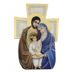 """Copertina di 'Croce sagomata con lamina oro """"Sacra Famiglia"""" - altezza 14 cm'"""