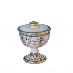 """Copertina di 'Pisside in ceramica simbolo IHS """"Modello Vario e oro"""" - 14 cm'"""