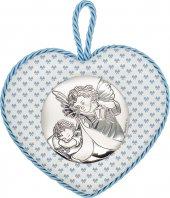 """Sopraculla a cuore azzurro con placca in bilaminato d'argento """"Angelo custode"""" e carillon - altezza 11 cm"""