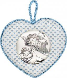 """Copertina di 'Sopraculla a cuore azzurro con placca in bilaminato d'argento """"Angelo custode"""" e carillon - altezza 11 cm'"""