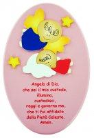Pala bassorilievo ovale Angelo di Dio 23x14 rosa