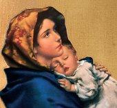 Immagine di 'Tavola Madonna del Ferruzzi stampa su legno - 24 x 17 cm'