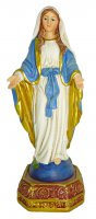 Statua della Madonna Miracolosa da 12 cm in confezione regalo con segnalibro in IT/EN/ES/FR