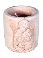 """Coccetto in resina con candela profumata """"Sacra Famiglia"""" - altezza 5 cm"""