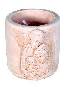"""Copertina di 'Coccetto in resina con candela profumata """"Sacra Famiglia"""" - altezza 5 cm'"""