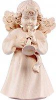 Statuina dell'angioletto con tromba, linea da 10 cm, in legno naturale, collezione Angeli Sissi - Demetz Deur