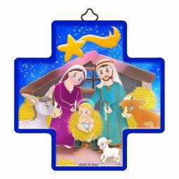 """Copertina di 'Croce in legno con lamina oro """"Presepe"""" per bambini - altezza 12 cm'"""