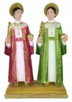 Statua Cosma e Damiano in gesso dipinta a mano - 30 cm