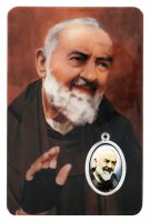 Card Padre Pio in PVC - 5,5 x 8,5 cm - italiano