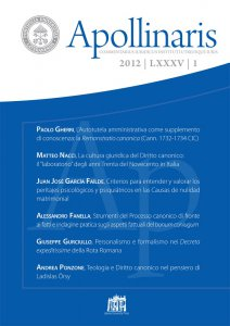 Copertina di 'Apollinaris n. 1/2012'