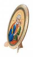 """Immagine di 'Icona ovale in polimero con cavalletto """"San Giuseppe e Bambinello"""" - 25 cm'"""