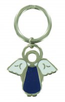 Portachiavi a forma di angioletto con smalto blu - 4 cm