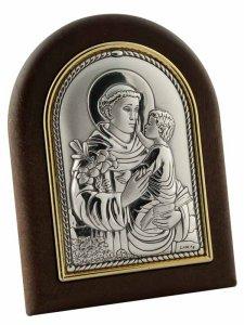 """Copertina di 'Iconcina in lamina d'argento e legno """"S. Antonio con Gesù Bambino"""" - dimensioni 8x6 cm'"""