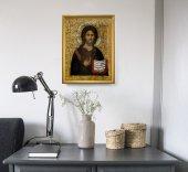 """Immagine di 'Quadro """"Gesù Maestro"""" con lamina oro e cornice dorata - dimensioni 44x34 cm'"""