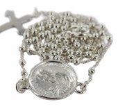 Immagine di 'Rosario San Pio in argento 925 con grani tondi da Ø 1,5 mm su catena con moschettone'