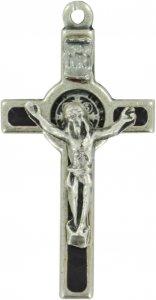Copertina di 'Croce San Benedetto in metallo nichelato con smalto nero - 3,5 cm'