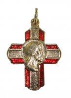 Croce in metallo dorato con volto di Cristo - 2 cm