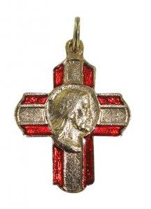 Copertina di 'Croce in metallo dorato con volto di Cristo - 2 cm'