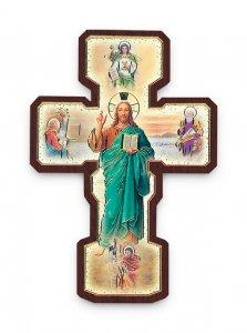 """Copertina di 'Croce in legno """"Quattro Evangelisti""""  - dimensioni 22x7 cm'"""