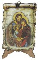 Tavoletta Sacra Famiglia tipo pergamena a due livelli - 10 x 7 cm