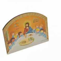 """Copertina di 'Tavoletta sagomata """"Ultima cena"""" con supporto da appoggio'"""