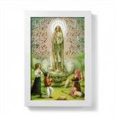 """Quadretto """"Madonna di Fatima"""" con lamina oro e cornice minimal - dimensioni 15x10 cm"""