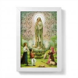 """Copertina di 'Quadretto """"Madonna di Fatima"""" con lamina oro e cornice minimal - dimensioni 15x10 cm'"""