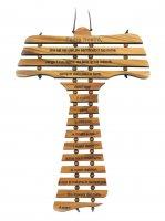 Tau in legno d'ulivo con preghiera Padre Nostro - cm 17
