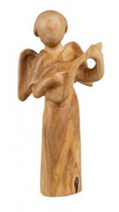 """Copertina di 'Statuetta in legno """"Angelo con mandolino"""" - altezza 7,5 cm'"""