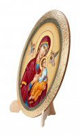 """Immagine di 'Icona ovale in polimero con cavalletto """"Madonna del Perpetuo Soccorso"""" - dimensioni 25x20 cm'"""