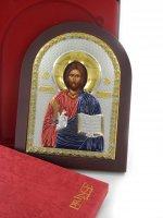 Immagine di 'Icona Cristo con libro aperto Greca a forma di arco con lastra in argento - 10 x 14 cm'