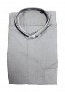 Copertina di 'Camicia clergyman grigio chiaro manica lunga 100% cotone - collo 38'