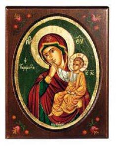 """Copertina di 'Icona in legno dipinta a mano """"Madonna della carezza""""  -16,5 x 21 cm'"""