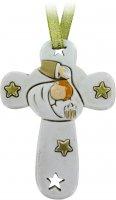Croce in resina bianca con stelle per battesimo cm 8,5