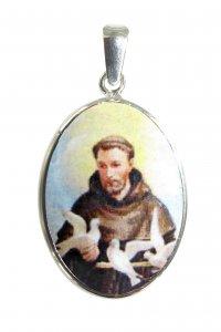 Copertina di 'Medaglia San Francesco  ovale in argento 925 e porcellana - 3 cm'