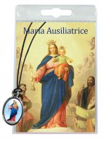 Medaglia Madonna Ausiliatrice con laccio e preghiera in italiano
