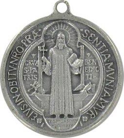 Copertina di 'Medaglia San Benedetto in metallo argentato ossidato - 9 mm'