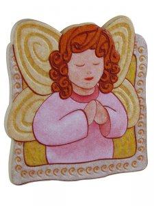 """Copertina di 'Calamita in polimero """"Angioletto rosa in preghiera"""" - dimensioni 5,8x6,5 cm'"""