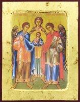 Icona Tre Arcangeli, produzione greca su legno - 25,5 x 19 cm