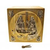 Tabernacolo in metallo dorato con Ultima Cena e simboli degli Evangelisti - altezza 27 cm