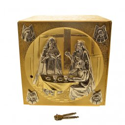 Copertina di 'Tabernacolo in metallo dorato con Ultima Cena e simboli degli Evangelisti - altezza 27 cm'