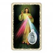"""Card """"Gesù Misericordioso"""" con preghiera e medaglia - (10 pezzi)"""