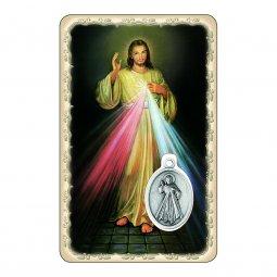 """Copertina di 'Card """"Gesù Misericordioso"""" con preghiera e medaglia - (10 pezzi)'"""