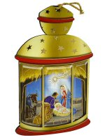Lanterna gialla da appendere con Sacra Famiglia classica