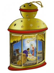 Copertina di 'Lanterna gialla da appendere con Sacra Famiglia classica - altezza 14 cm'