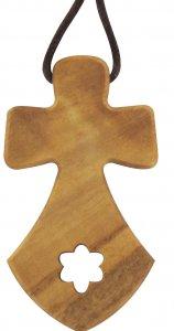 Copertina di 'Croce del Carmine in legno d'ulivo con cordoncino - cm 5,5'