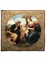 """Arazzo sacro """"Sacra Famiglia con palma"""" - dimensioni 65x65 cm - Raffaello Sanzio"""