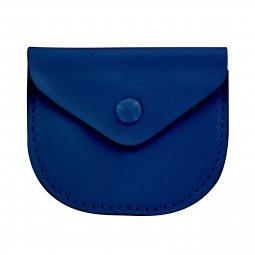 Copertina di 'Portarosario con bottone in vera pelle di colore blu - 7 x 6 cm'